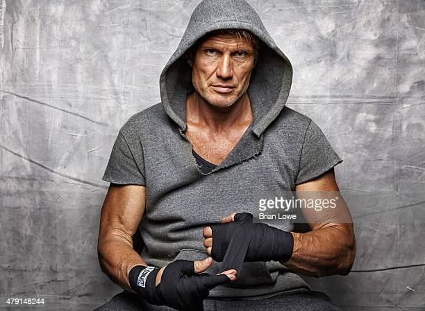 Where Are They Now Portrait of celebrity actor Dolph Lundgren during workout photo shoot at gym Lundgren who played the character Ivan Drago in Rocky...