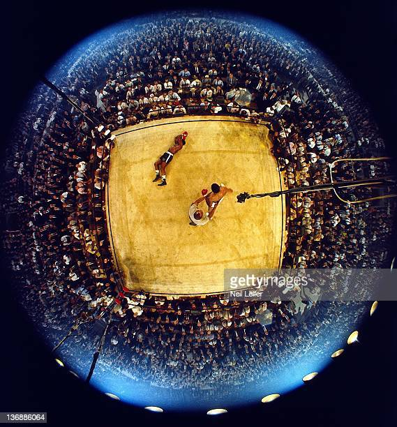 Boxing World Heavyweight Title Aerial fisheye view of Muhammad Ali victorious after first round knockout of Sonny Liston at St Dominic's Arena...