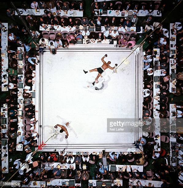 Boxing World Heavyweight Title Aerial view of Muhammad Ali victorious after round 3 knockout of Cleveland Williams during fight at Astrodome Houston...
