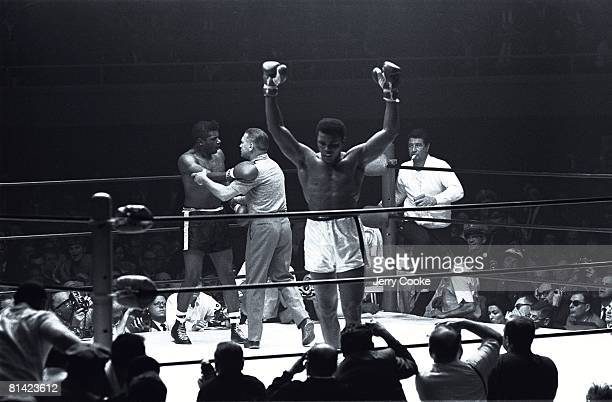 Boxing World Heavyweight Title Closeup of Muhammad Ali victorious vs Floyd Patterson at Convention Center Las Vegas NV