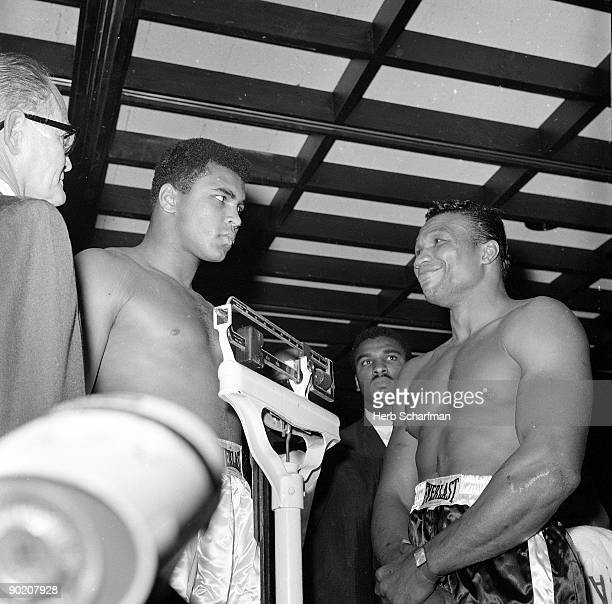 World Heavyweight Title Muhammad Ali and Cleveland Williams during weighin before fight at Astrodome Houston TX CREDIT Herb Scharfman