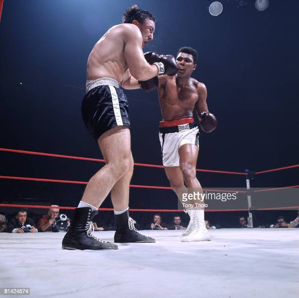 Boxing World Heavyweight Title Muhammad Ali in action throwing punch vs George Chuvalo at Maple Leaf Gardens Cover Toronto CAN 3/29/1966