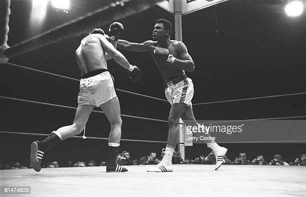 Boxing World Heavyweight Title Muhammad Ali in action throwing punch vs Karl Mildenberger at Waldstadion Frankfurt DEU 9/10/1966