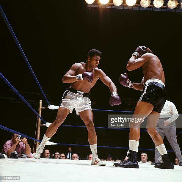 Boxing World Heavyweight Title Muhammad Ali in action vs Cleveland Williams during fight at Astrodome Houston TX CREDIT Neil Leifer