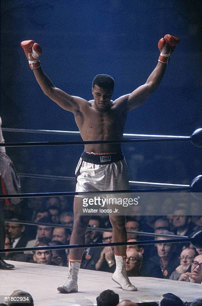 Boxing World Heavyweight Title Muhammad Ali victorious after fight vs Floyd Patterson at Convention Center Las Vegas NV