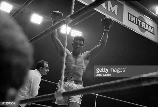 Boxing World Heavyweight Title Muhammad Ali victorious after winning fight vs Karl Mildenberger at Waldstadion Frankfurt DEU 9/10/1966