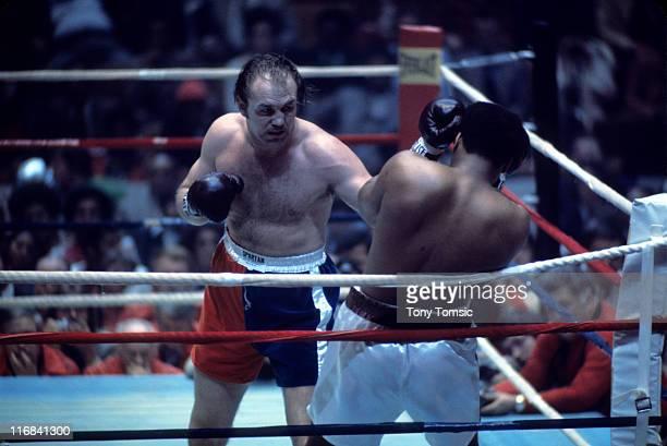 World Heavyweight WBA WBC title Chuck Wepner in action throwing punch vs Muhammad Ali at Richfield Coliseum Richfield OH CREDIT Tony Tomsic