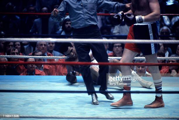 World Heavyweight WBA WBC title Muhammad Ali in action knocked down during bout vs Chuck Wepner at Richfield Coliseum Richfield OH CREDIT Tony Tomsic