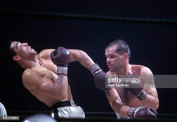 World Middleweight Title Bobo Olson in action vs Randy Turpin during fight at Madison Square Garden New York NY CREDIT Mark Kauffman