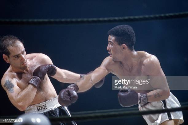 World Middleweight Title Randy Turpin in action vs Bobo Olson during fight at Madison Square Garden New York NY CREDIT Mark Kauffman