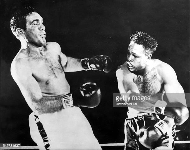 Boxsportler USA Moore im Kampf gegen Joey MaximJanuar 1954