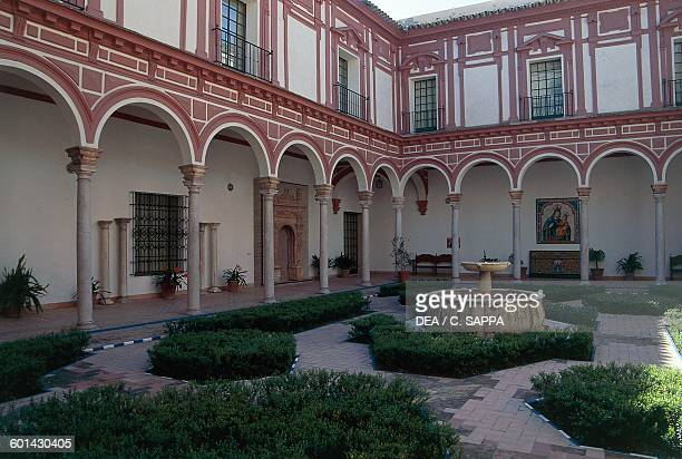 Boxwood cloister Convent of Merced Calzada now the Museum of Fine Arts Seville Andalusia Spain