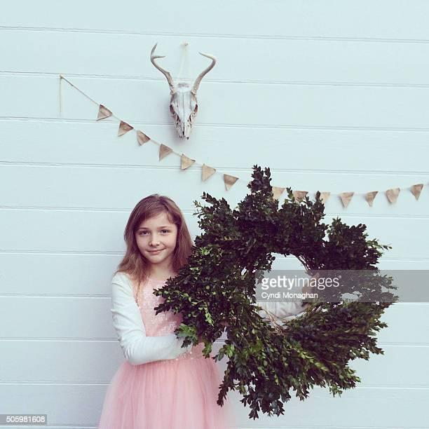 Boxwood Wreath and Girl