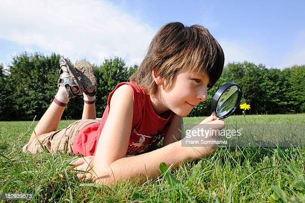 A boy, 9 years, is lying on a meadow examining a flower with a magnifying glass