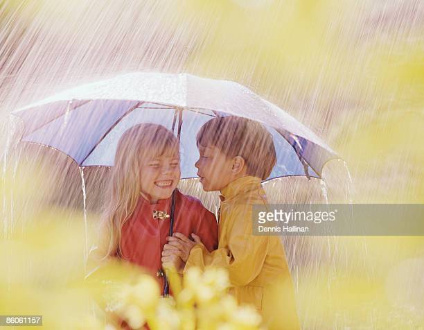 boy about to kiss girl under umbrella during rainstorm - romantic rainy day stock photos and pictures