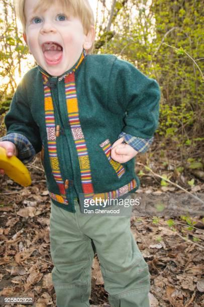 Boy Acting Like a Monkey with a Banana - Portland, Oregon