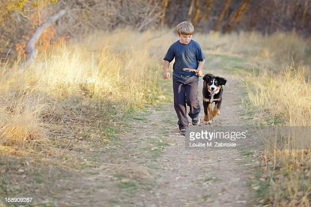Boy and Bernese puppy running