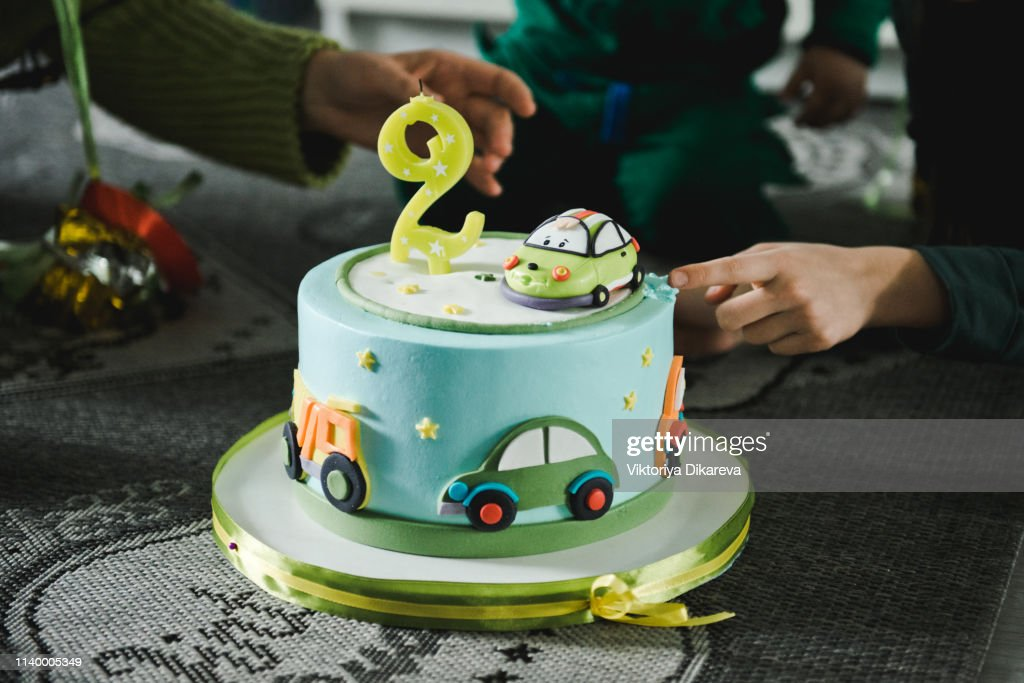 Cool Boy And Birthday Cake Number 2 Birthday Cake High Res Stock Photo Funny Birthday Cards Online Elaedamsfinfo