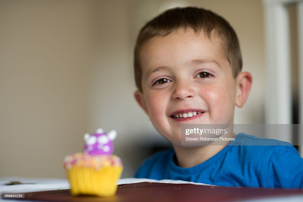 Boy and Cake : Stock Photo