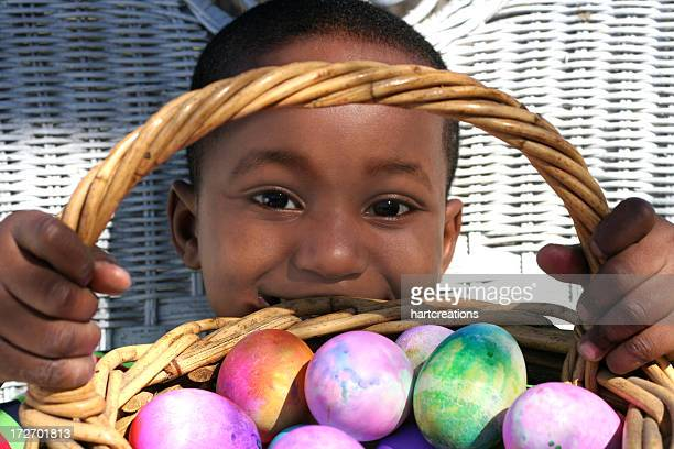 boy and colored eggs