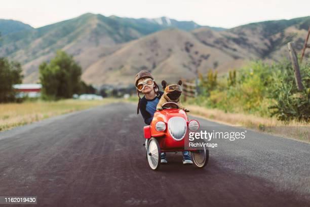 menino e cão no carro de competência do brinquedo - cena não urbana - fotografias e filmes do acervo