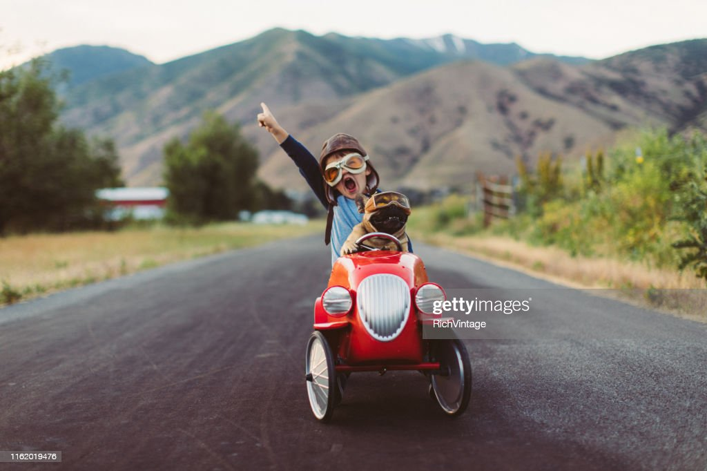 Boy and Dog in Toy Racing Car : Stock Photo