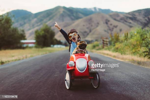 boy and dog in toy racing car - joy stock pictures, royalty-free photos & images