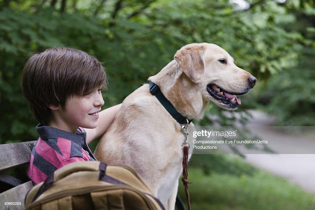 Boy and dog sitting on bench : Stock Photo