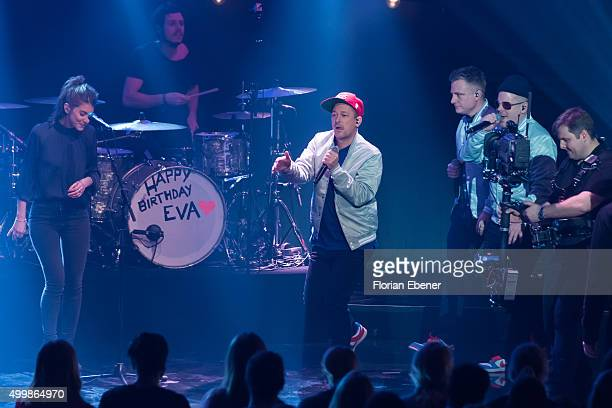 'Boy' and 'Fettes Brot' attend the 1Live Krone 2015 at Jahrhunderthalle on December 3 2015 in Bochum Germany