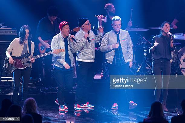 'Boy' and 'Fettes Brot' perform on stage at the 1Live Krone 2015 at Jahrhunderthalle on December 3 2015 in Bochum Germany