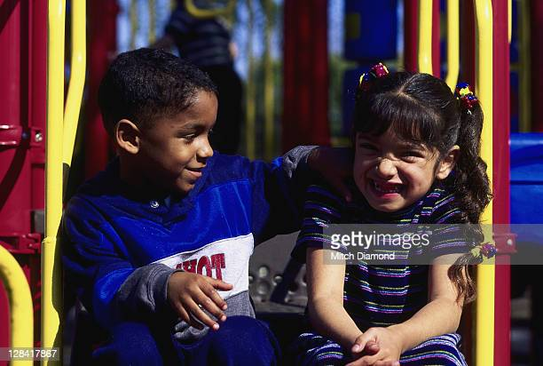 boy and girl at school playground