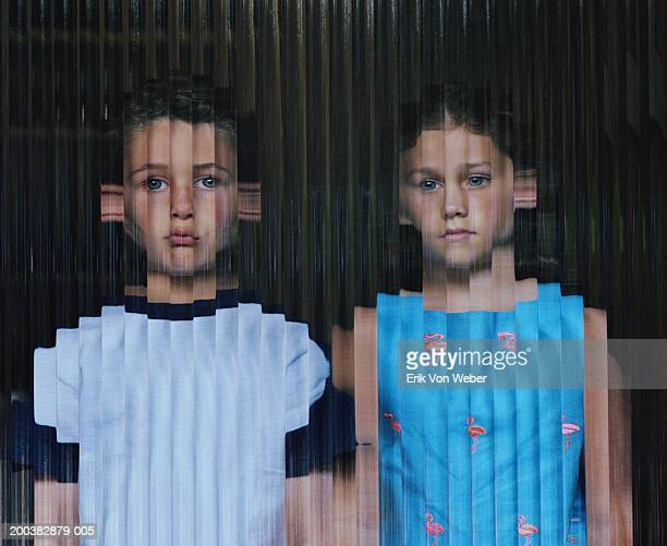 boy and girl (6-10) behind glass, reflection - distorted stock photos and pictures
