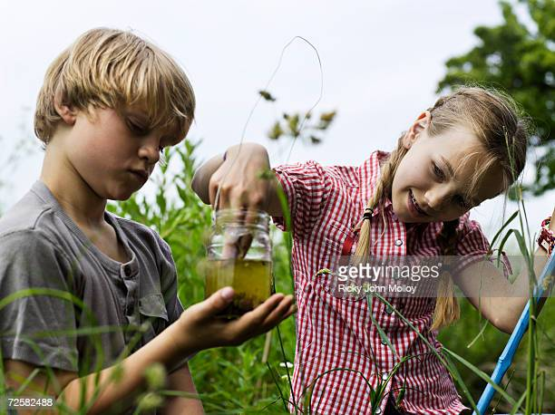 Boy (7-8) and girl (10-11) catching tadpoles