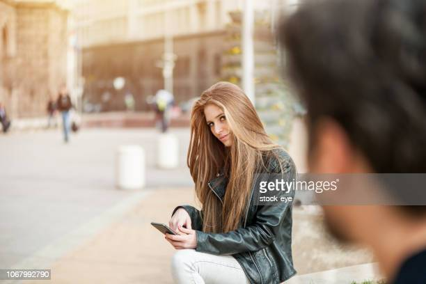 boy and girl flirting - love at first sight stock pictures, royalty-free photos & images