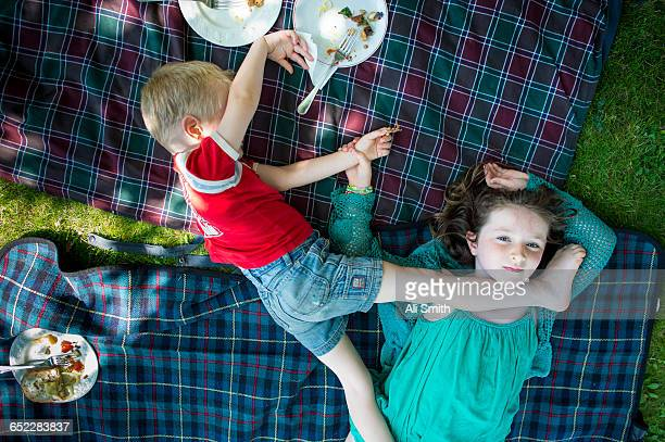 Boy and Girl have a picnic
