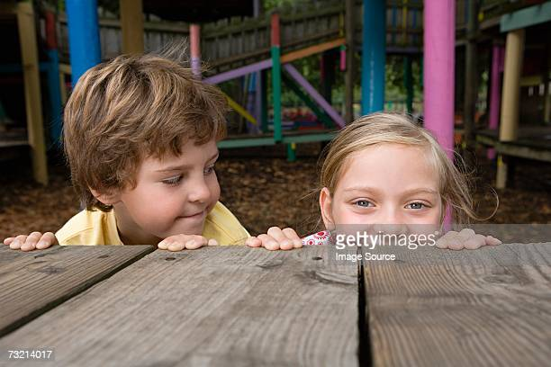 Boy and girl in a playground