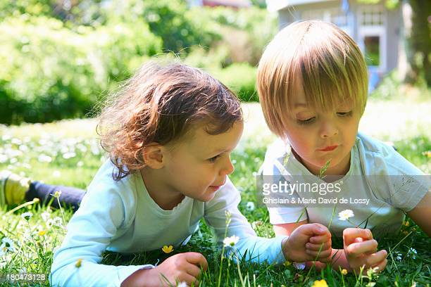 Boy and girl in the garden, picking up daisies
