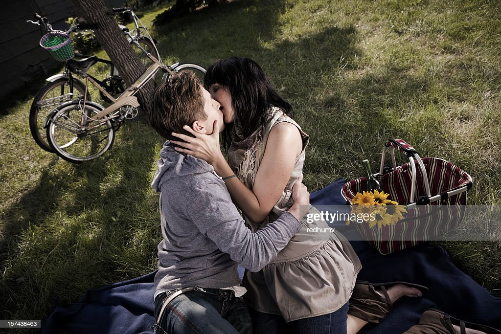 Boy And Girl Kissing In Embrace Stock Photo  Getty Images-5741