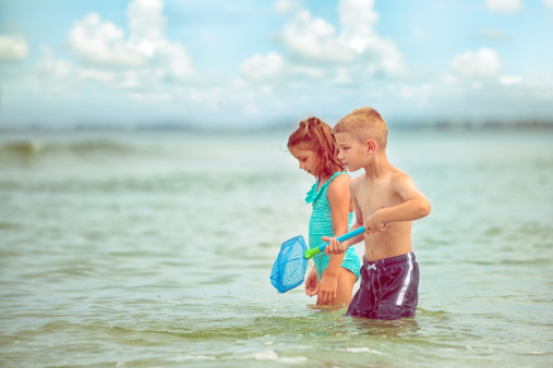 Boy and girl looking for fish in Gulf of Mexico - gettyimageskorea
