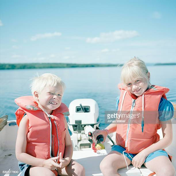 Boy and girl on boat