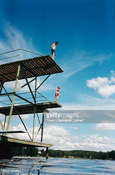 Boy and Girl on Diving Boards
