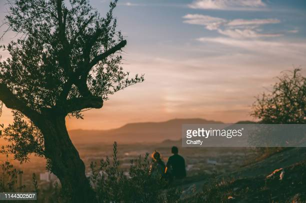boy and girl on mountain - andalucia stock pictures, royalty-free photos & images