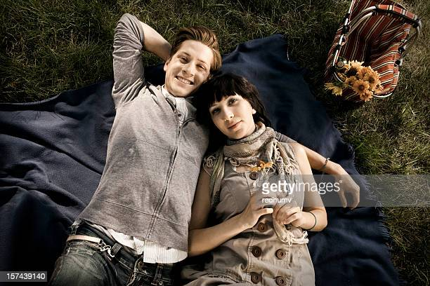 boy and girl on romantic picnic - copulation of humans stock photos and pictures