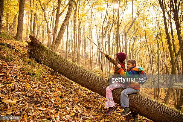 Boy and girl playing in autumn woods
