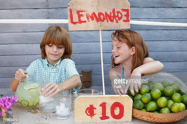 Boy and Girl Selling Lemonade on Stand