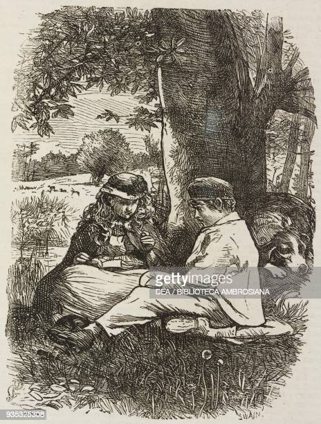 Boy and girl sitting under a tree from Hacco the dwarf illustration from Christmas supplement of the magazine The Illustrated London News volume XLV...