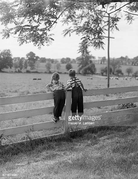 boy and girl standing on fence - {{ collectponotification.cta }} foto e immagini stock