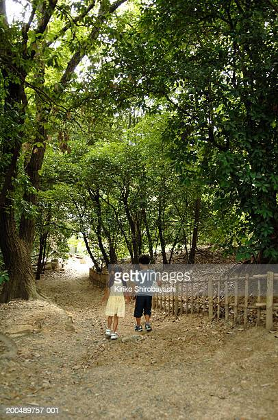 boy and girl (6-11) walking on path, holding hands, rear view - 吹田市 ストックフォトと画像