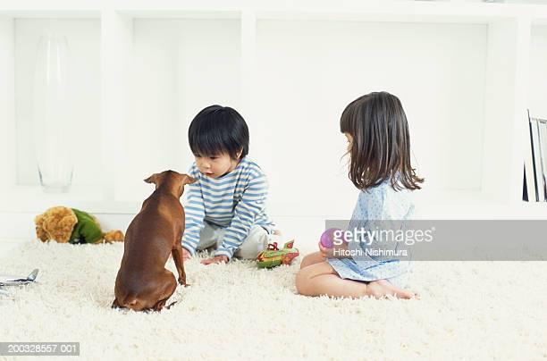 Boy and girl (2-5) with dog
