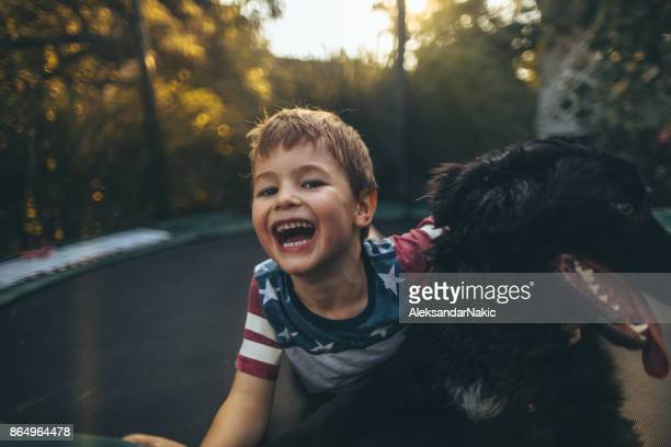 Boy and his dog on a trampoline
